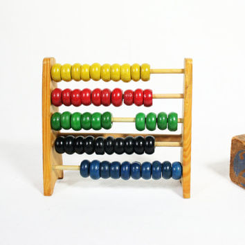 Vintage Small Childs Wood Abacus