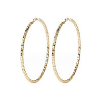 River Island Womens Gold tone oversized faceted hoop earrings