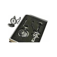 Fullmetal Alchemist Edward Elric Pocket Watch Necklace Ring Set Cosplay Prop Accessory
