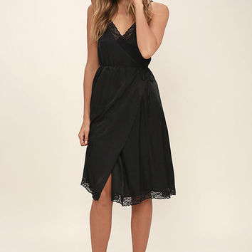 Somedays Lovin' Canyon Black Lace Midi Wrap Dress