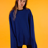 Blue Stripe Oversize Long Sleeve T-Shirt