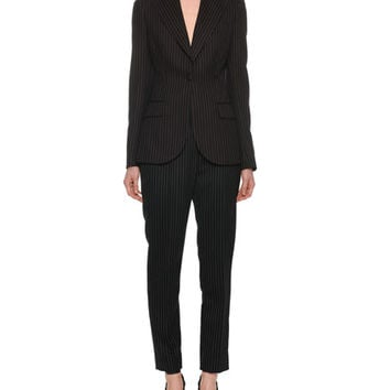 Dolce & Gabbana One-Button Fitted Pinstripe Wool Jacket and Matching Items