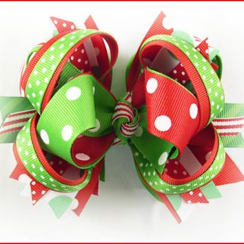 Girls Christmas hair bows - over the top bow - red and green hairbows GRINCH bow ~ Fleurette Accessories custom boutique