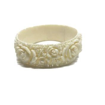 Rose Bracelet Carved Celluloid, Chunky Floral Bangle, Flower Girl Bracelet, Cream Cabbage Rose, Floral jewelry, Vintage Jewelry