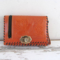 Vintage brown tooled billfold wallet purse / horse and roses