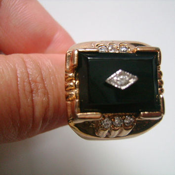 Very Handsome Men's Jewelry Yellow Gold Plated Emerald Cut Black Onyx Stone and Cubic Zirconia CZ Accents Art Deco Style Men Man Ring Size 8