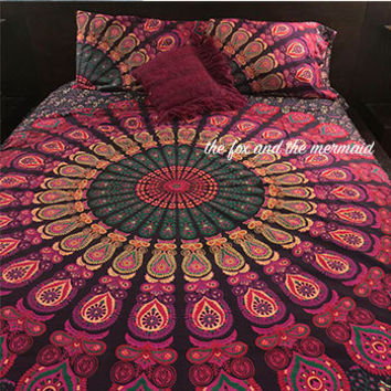 Purple peacock mandala  duvet cover, flat sheet and 2 matching pillowcases. Indian mandala doona cover, sheet and matching pillowcases