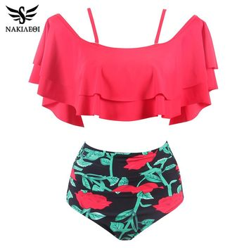 NAKIAEOI 2018 Bikinis High Waist Swimsuit New Ruffle Vintage Biquinis Women Swimwear Bandeau Dot Top Print Bottom Bathing Suits