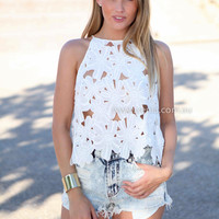 WHITE FANTASY LACE TOP , DRESSES, TOPS, BOTTOMS, JACKETS & JUMPERS, ACCESSORIES, 50% OFF SALE, PRE ORDER, NEW ARRIVALS, PLAYSUIT, COLOUR, GIFT VOUCHER,,White,LACE,CUT OUT,SLEEVELESS,MINI Australia, Queensland, Brisbane