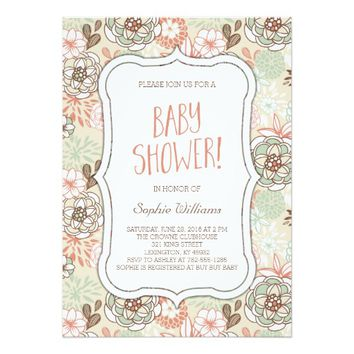 Pretty Floral Baby Shower 5x7 Paper Invitation Card
