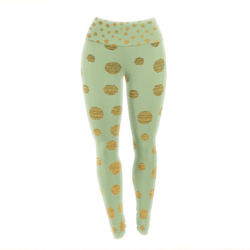 "Nika Martinez ""Golden Dots and Mint"" Green Gold Yoga Leggings"