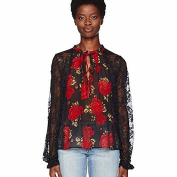 The Kooples Sleeping Rose Print Top with Long Sleeves, in Lace