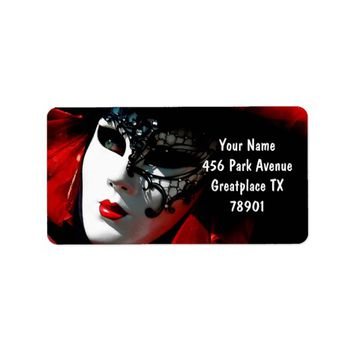 Venice Carnival Colorful Traditional Red Mask Label
