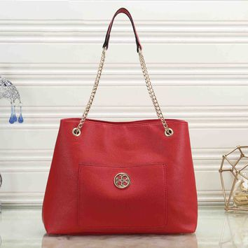 Tory Burch Fashionable Women Shopping Leather Handbag Shoulder Bag Crossbody Satchel Red