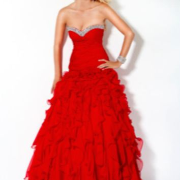 Jovani Long Layered Ruffle Evening Dress #3060
