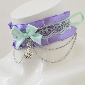 Kitten play collar - Unicorn's dream - ddlg little princess choker with chains and pendant - kawaii cute fairy kei violet lilac green