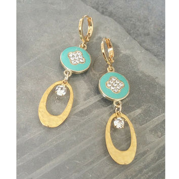 Gold Turquoise Crystal Earrings, Gold Turquoise Crystal Dangles, Turquoise Dangle Earrings, Turquoise Earrings, Turquoise Dangles, Turquoise