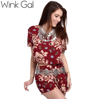 Wink Gal Crop Top And Shorts Set Two Piece Suit Casual Short Sleeve Beach Sets Women Summer Suits