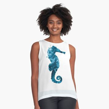 """Seahorse"" Contrast Tank by MonnPrint 