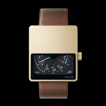 Void Watches - V02MKII Matte Gold Analogue Light Brown Leather Strap Gold Buckle Clever Analogue Watch