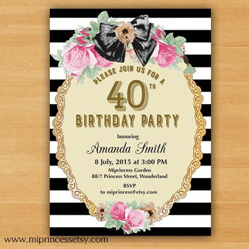 Shabby Chic Birthday Invitation for any age, 16th 18th 20th 30th 40th 50th 60th 70th 80th 90th vintage - card 657