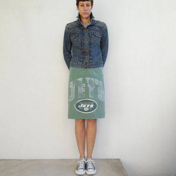 New York Jets T Shirt Skirt / Cream / Green / NFL Football / Drawstring / Cotton / Soft / Fun / Fashion / Handmade / ohzie