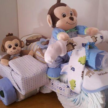 Diaper Motorcycle with Side Car  Baby Shower by 2CuteDesignsLS