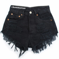 "ALL SIZES ""PLAINO2"" Vintage high-waisted denim shorts black distressed frayed jeans"
