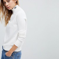 Obey High Neck Half Zip Sweatshirt With Neck Logo Embroidery at asos.com