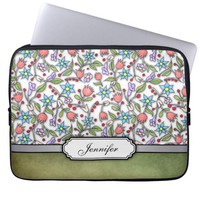 Girly Floral Pattern Laptop Sleeve