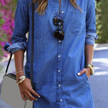 Blue Shirt Collar Long Sleeve Denim Shirt Dress