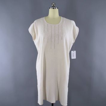 Vintage 1970s Embroidered Ivory Cotton Gauze Dress