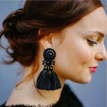 Bohemian Long Statement Tassel Drop Earrings