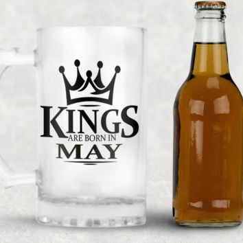 Born in May Frosted Beer Mug, 16oz Frosted Beer Stein