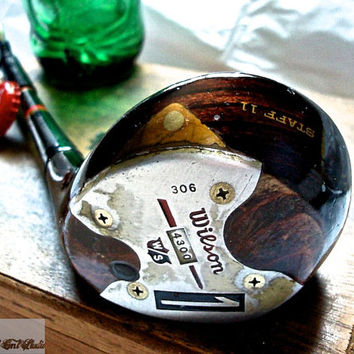 Golf Club Bottle Opener-- Rustic Red Wilson Staff Professional 1 Wood Bottle Opener --OOAK