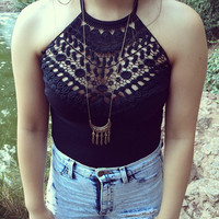 Black Halter Crochet Bodysuit