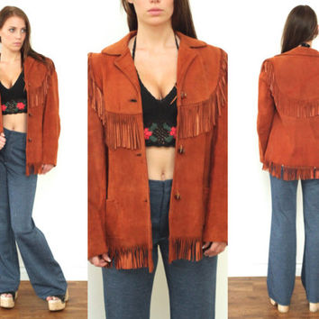 Vintage 70s FRINGE SUEDE Leather Rusty Brown Woodstock Jacket // Hippie Gypsy Boho Bohemian Hippy Easy Rider Biker Western // Medium / Large