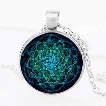2017 New Flower of Life Necklace Om Yoga Chakra Pendant Mandala Necklace Fashion Glass Dome Sacred Geometry Women Jewelry NG05