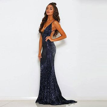 Sexy Silver Sequined Open Back Party Dress Floor Length Silver Sequins Sleeveless BodyconV Neck Evening Club Dress
