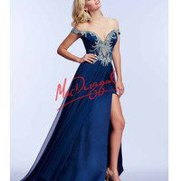 Midnight Blue Off The Shoulder Beaded Gown