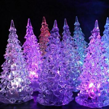 Crystal Christmas Tree LED Lamp Light Cute Ornaments Decor Xmas Gift Festival Gift Party Gift Hanging Gift