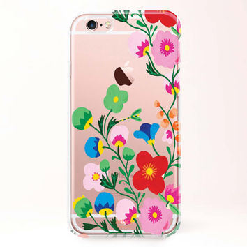 Clear Transparent iPhone 6 case, iPhone 6s case, iPhone 6 plus case, iPhone 6s plus case, iPhone 5S Case, Samsung Galaxy Case-Flower pinting