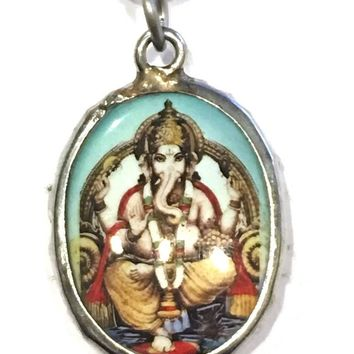 Ganesh Hindu Color Ceramic Unisex Pendant Necklace