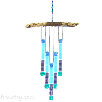 Blue Purple Teal Glass Wind Chime,Blue and Purple Chime,Glass Windchime,Glass Chimes