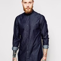 ASOS Chambray Shirt In Super Longline With Grandad Collar
