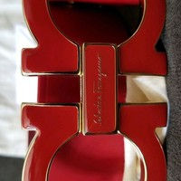 SALVATORE FERRAGAMO LARGE ENAMEL GANCINI BELT RED MENS SIZE 34 MADE IN ITALY