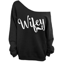 Wifey Shoulder Sweatshirt SM-4X, yoga clothes, workout top, boho style, bohemian clothing