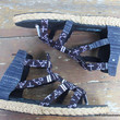 Isadora Womens Gladiator Sandals In Hmong Embroidery And Indigo Batik