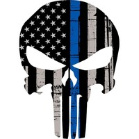 "1pcs Punisher Skull American Flag Police Blue Line 5.5"" Decal Sticker Graphic USA"