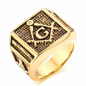 Bold Gold Color Masonic Ring